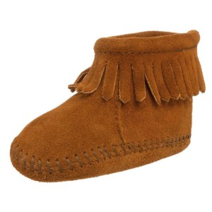 Minnetonka-Velcro-Back-Flap-Bootie-(Infant-Toddler)-brown