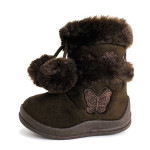 Babys-Girls-Infant-Kids-Toddler-Flat-Winter-Fur-Boots-Shoes-brown