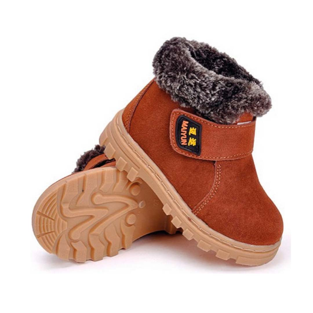 DADAWEN Boy's Girl's Leather Waterproof Winter Boots ...