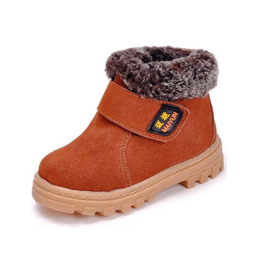 DADAWEN Boy's Girl's Leather Waterproof Winter Boots